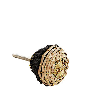 Black Beaded and Natural Braided Bamboo Knob