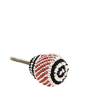 Black, White and Coral Beads Knob