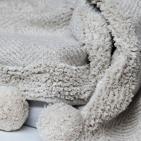 White Nomad Throw with Natural Pom Pom