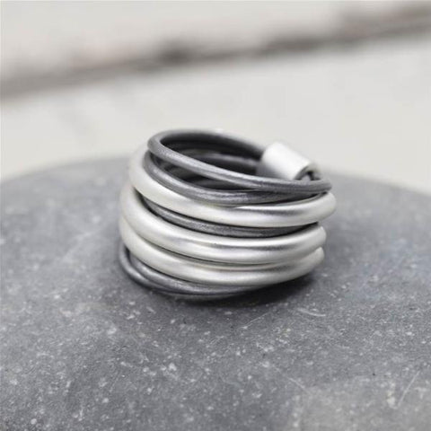 Multi-Tube Leather Look Ring - Matte Silver & Grey