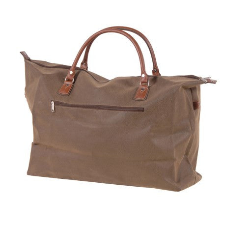 Brown Faux Leather Travel Bag