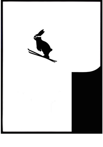 Ski Jumping Rabbit Print