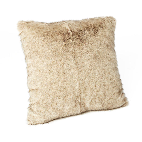 Cream/Beige Faux Fur Square Cushion