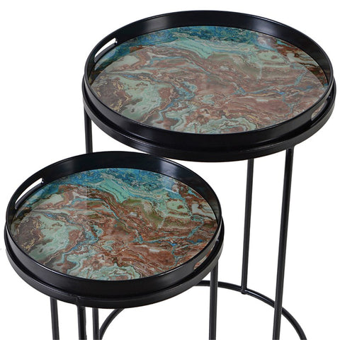Small Green Marble Effect Tray Table