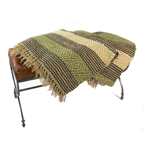 Green and Brown Patterned Jute Rug
