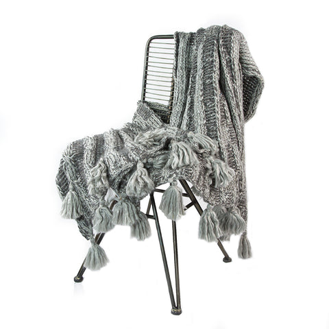 Beige Knitted Square Throw with Tassels