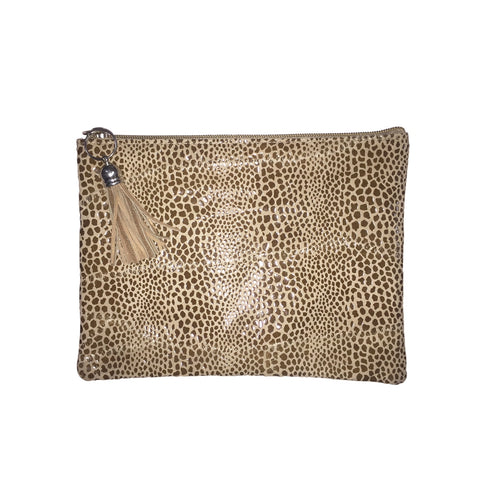 Cobra Printed Leather Clutch Bag