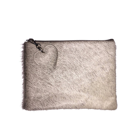 Grey Cow Hide Clutch Bag