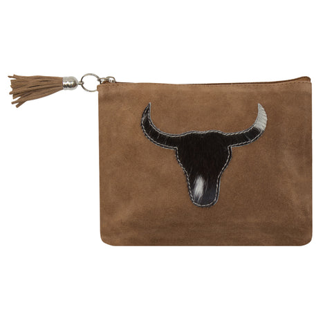 Black Bull Head Hide Clutch Bag