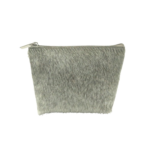 Grey Cow Hide Make Up Bag