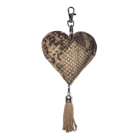 Leather Heart Python Print Keychain