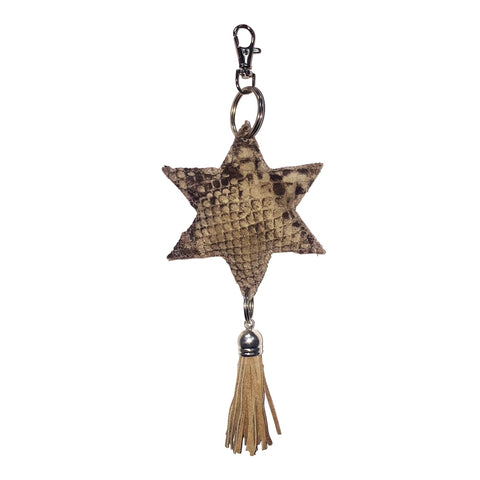 Leather Star Python Print Keychain