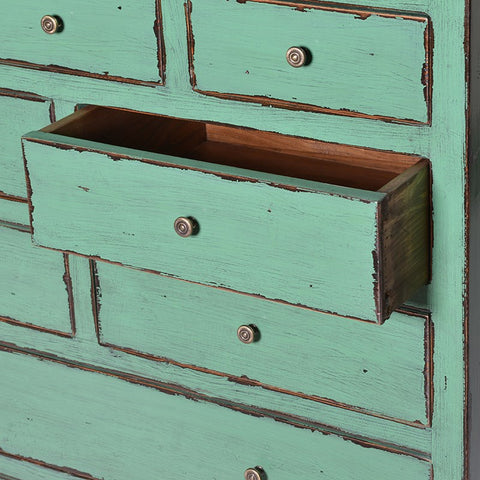 20 Rustic Drawer Green Cabinet