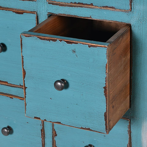 36 Rustic Drawer Blue Cabinet