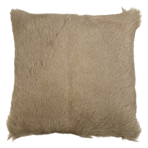Beige Goat Skin Square Cushion