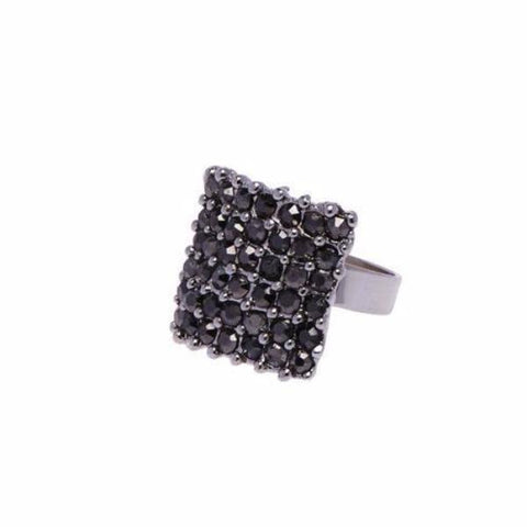 Black Crystal Panel Ring