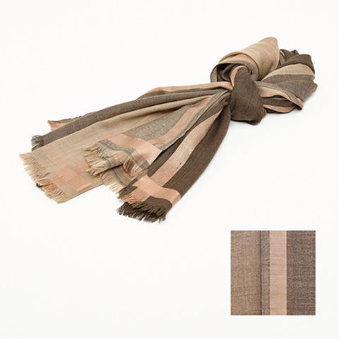 Wool and Silk Brown Scarf  Dimensions 70 cm x 180 cm