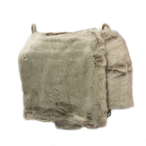Polyester Fleece Ribbed Throw Taupe