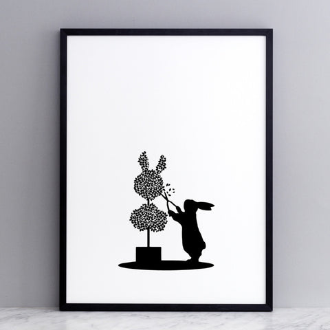 Topiary Rabbit Print
