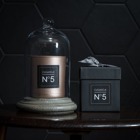 Collective No 5 candle Is an earthy spicy fragrance combining patchouli , frankincense and cardamom.