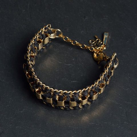 Black & Gold John & Pearl  Ribbon Bracelet
