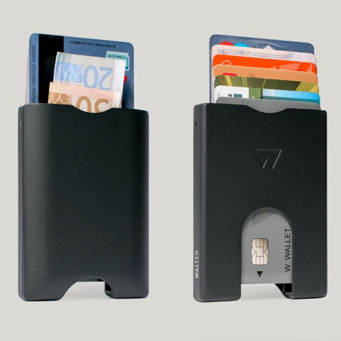 Walter Wallet Cards Holder Matt Black Aluminium
