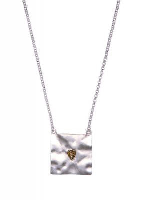 Silver Square Battered Pendant with Gold Heart
