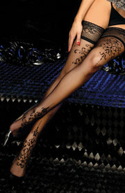 Ballerina 447 Hold Ups Thigh-Highs Black-Rebel Romance