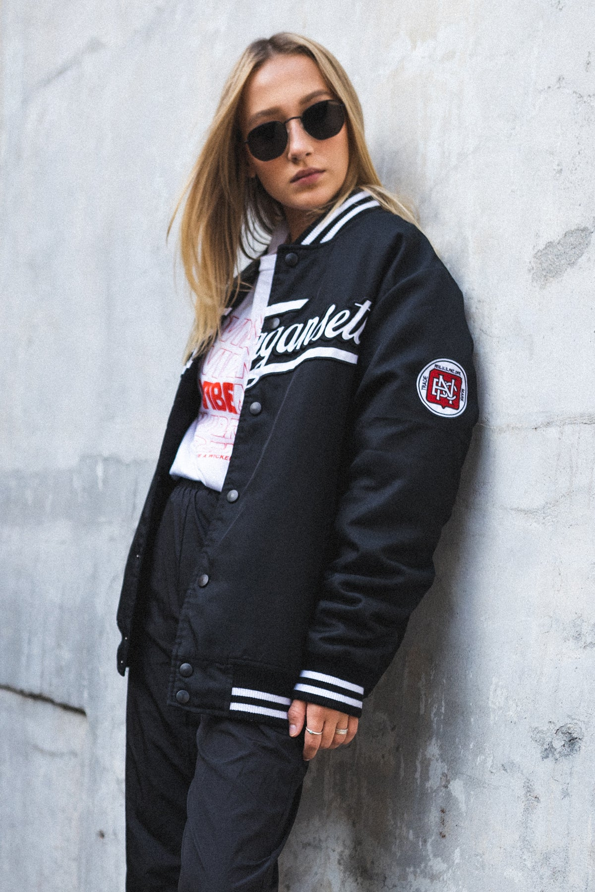 Bad Taste X 'Gansett Varsity Jacket (Black)