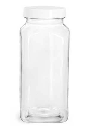 French Clear PET Square Bottles