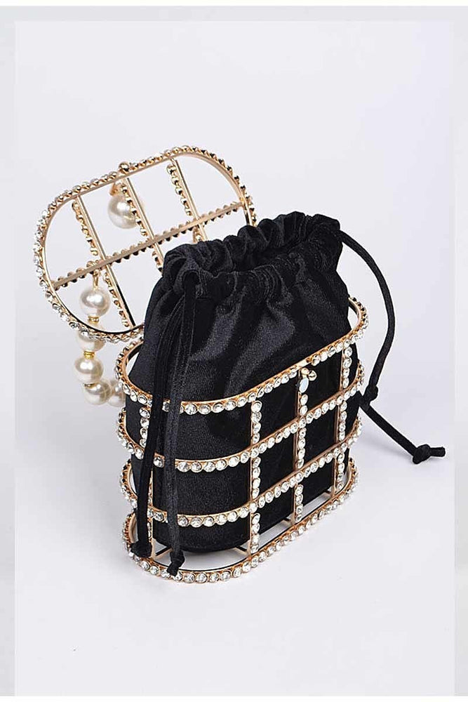 Cage Me Pearl and Crystal Clutch