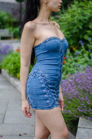 Denim Dreams Strapless Dress