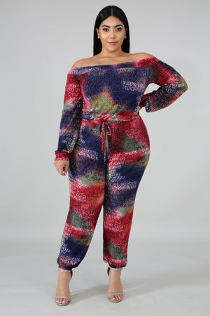 Graffiti Sweetie Slogan Print Jumpsuit - 1 Hot Diva