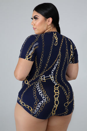 Hook Up Chain Print Bodysuit - 1 Hot Diva