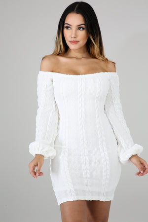 Innocent White Cable Knit Bardot Dress - 1 Hot Diva