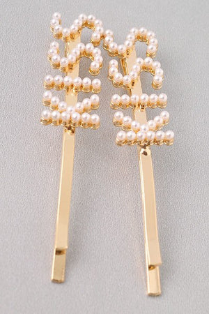 Kiss Pearl Slogan Hair Pins - 1 Hot Diva