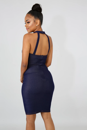 Layla Denim Choker Bodycon Dress - 1 Hot Diva
