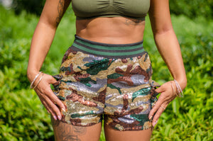 Lexie Sequin Camouflage Shorts