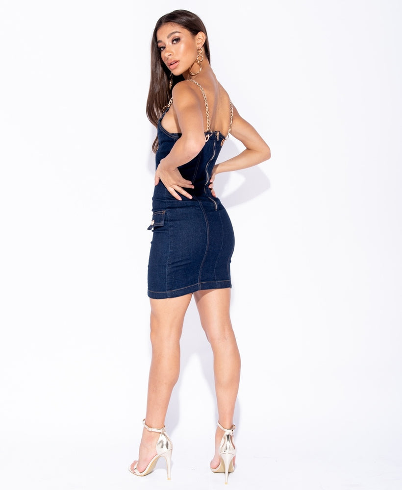 Linked Up Chain Strap Denim Dress - 1 Hot Diva