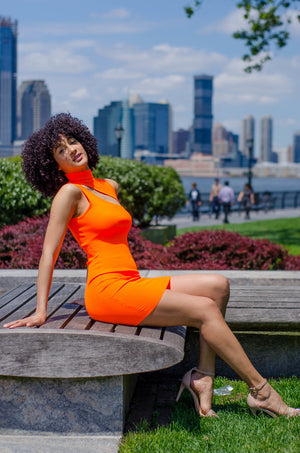 Orange Slash Front Bodycon Dress - 1 Hot Diva