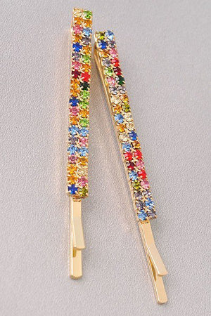Rainbow Rhinestone Hair Pins - 1 Hot Diva