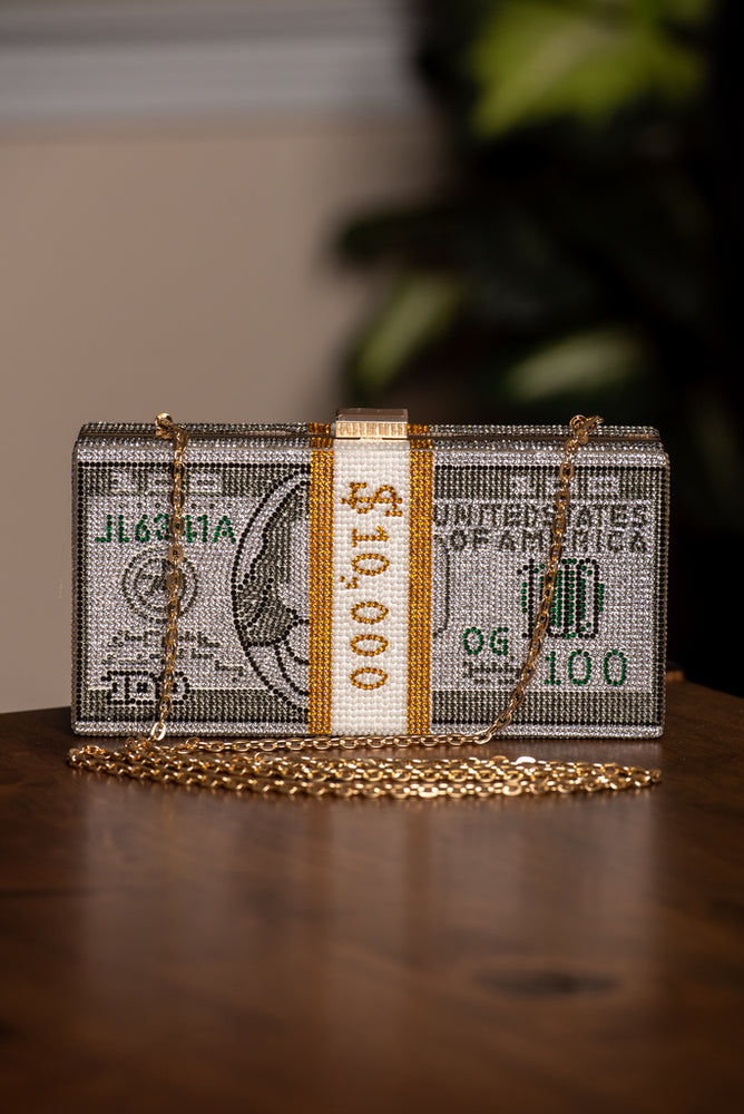 Rich Girl Crystal Dollar Clutch