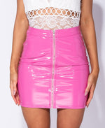 Wet Look Zip Front Mini Skirt - 1 Hot Diva