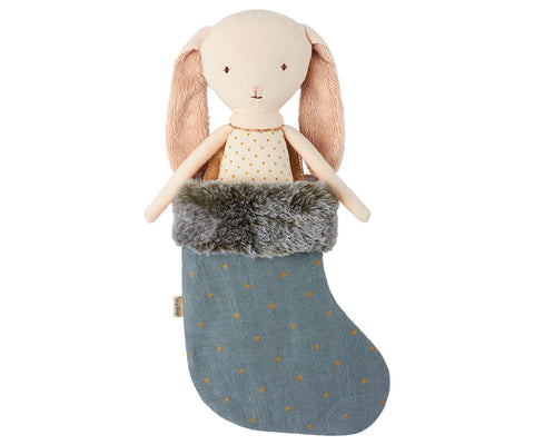 Maileg Angel Bunny in Stocking, Blue