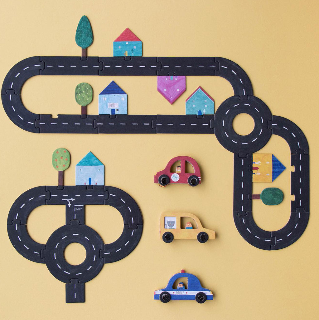 LONDJI Roads Building Puzzle with Cars