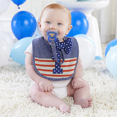 My First Birthday Bow Tie Pacifier Clip and Bib Set