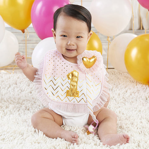 My First Birthday Tulle Gold Pacifier Clip and Bib Set