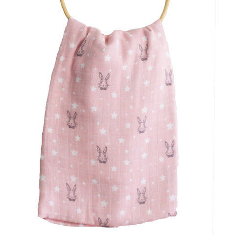 Alimrose Muslin Swaddle, Bunny Star Pink