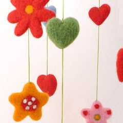 Wool Felt Hearts Mobile