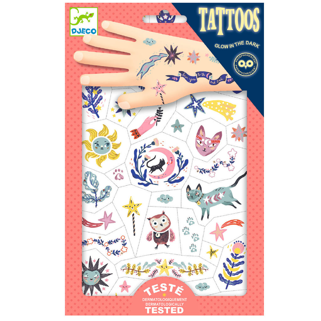 Djeco Temporary Glow in the Dark Tattoos, Sweet Dreams